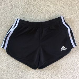 Adidas Girls Black and White Running Shorts